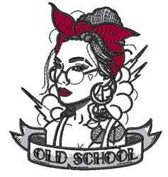 Old School Woman embroidery design