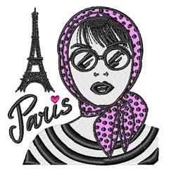 Paris Woman embroidery design