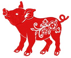Floral Pig embroidery design