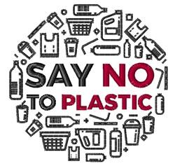 No To Plastic embroidery design