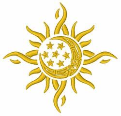 Sun Moon Stars embroidery design