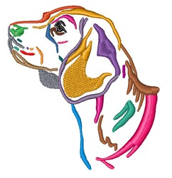 Colorful Hound embroidery design