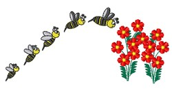 Bees & Flowers embroidery design