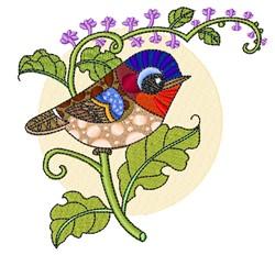 Bird On Flower embroidery design