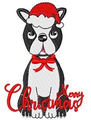 Christmas Boston Terrier embroidery design