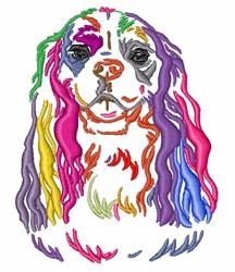 Colorful Spaniel embroidery design