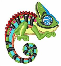 Chameleon embroidery design