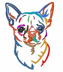 Colorful Chihuahua embroidery design