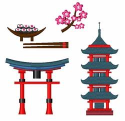 Oriental Buildings embroidery design