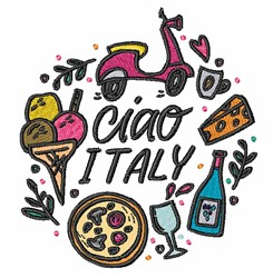 Ciao Italy embroidery design