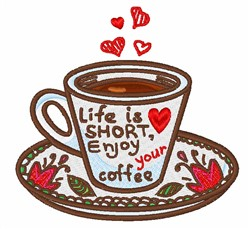 Enjoy Coffee embroidery design