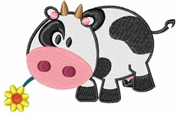 Cow & Flower embroidery design