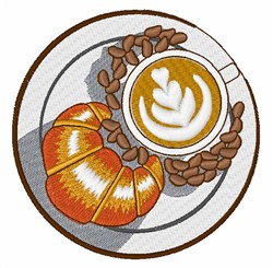 Croissant  & Coffee embroidery design