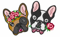 French Bulldogs embroidery design