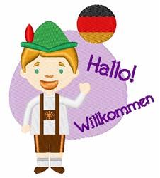Hallo Wilkommen embroidery design