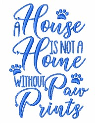 Home With Paw Prints embroidery design