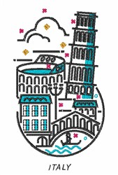 Italy Buildings embroidery design