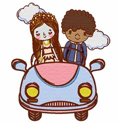 Couple In Car embroidery design