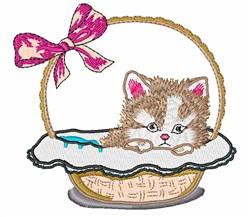 Kitten In Basket embroidery design