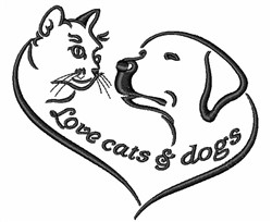 Love Cats & Dogs embroidery design
