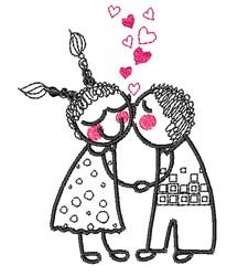 Valentine Kiss embroidery design