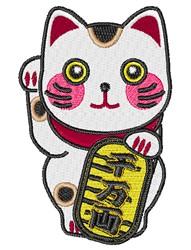 Maneki-neko embroidery design