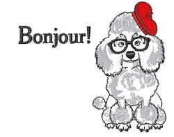 Bonjour Poodle embroidery design