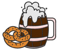 Pretzel & Beer embroidery design