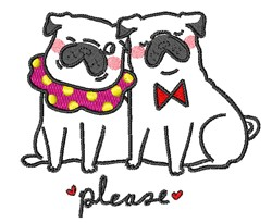 Please Pugs embroidery design