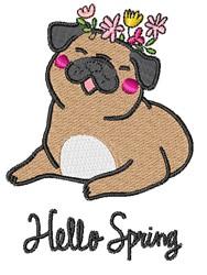 Spring Pug embroidery design
