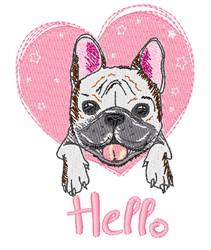 Hello Pug embroidery design
