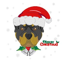 Christmas Rottweiler embroidery design
