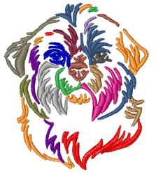 Colorful Shih Tzu embroidery design