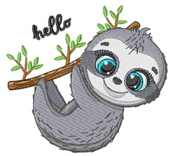 Hello Sloth embroidery design
