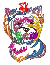 Colorful Yorkie embroidery design