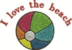 I Love The Beach embroidery design