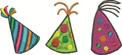 Three Party Hats embroidery design