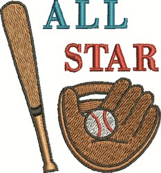 Baseball All Star embroidery design