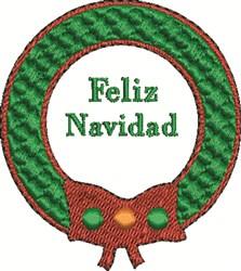 Feliz Navidad Wreath embroidery design