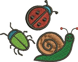 Three Bugs embroidery design