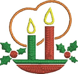 Holly Candles embroidery design