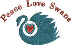 Peace Love Swans embroidery design