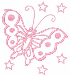Butterfly & Stars embroidery design