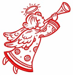 Trumpeting Angel embroidery design