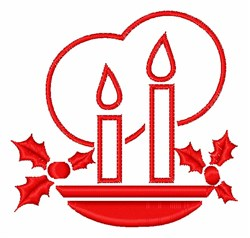 Candles & Holly embroidery design
