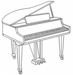Piano Outline embroidery design
