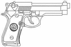 Gun Outline embroidery design