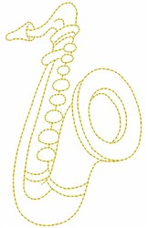 Saxophone Outline embroidery design