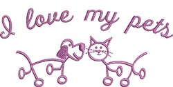 I Love My Pets embroidery design