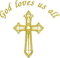 God Loves Us All embroidery design